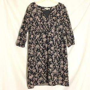 Boden Black & Gray FloraL 3/4 Sleeves Dress Sz 14